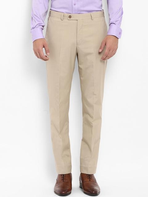 Park Avenue Men Beige Regular Fit Solid Formal Trousers