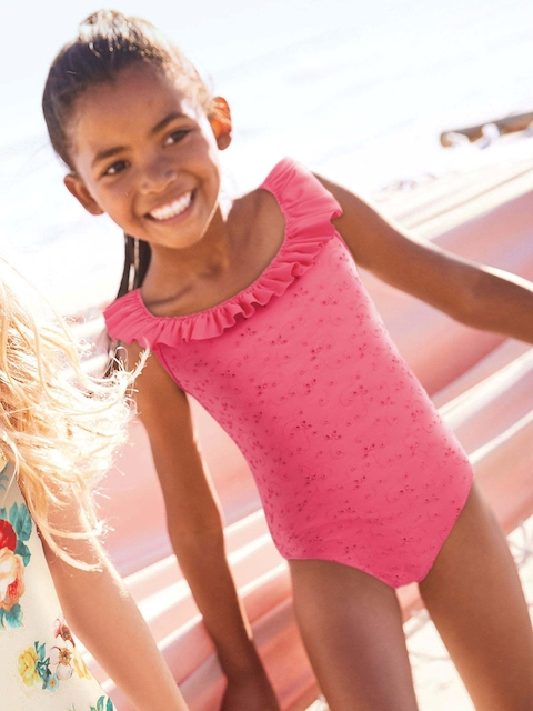 Next Girls Pink Solid Swimsuit 5057823374325