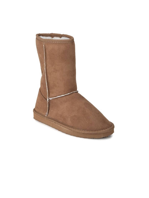 Truffle Collection Women Tan Solid Heeled Boots