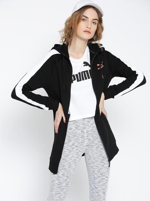 Puma Women Black Kiss Artica T7 FZ Hooded Solid Sweatshirt
