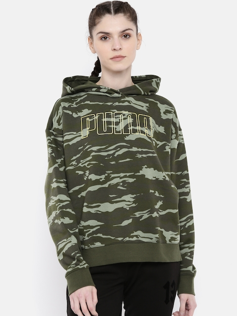 Puma Women Olive Green Printed Relaxed FIt Camouflage Cropped Hooded Sweatshirt