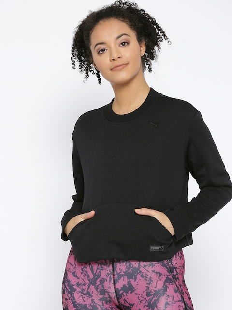 Puma Women Black Solid FUSION Cropped Crew Sweat