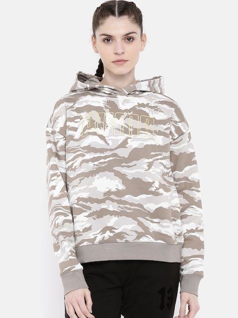 Puma Women Beige & Brown Printed Relaxed FIt Camouflage Cropped Hooded Sweatshirt