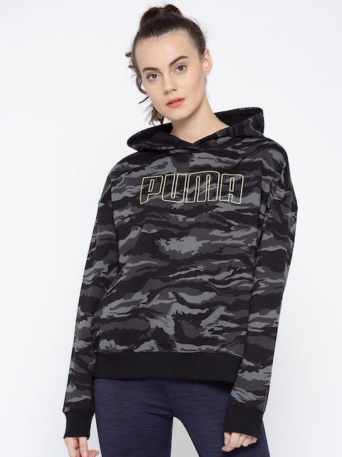 Puma Women Black & Charcoal Grey Camouflage Print Hooded Sweatshirt