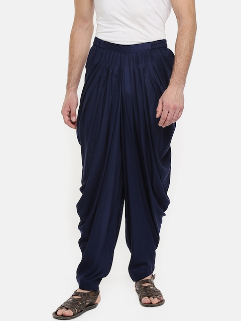 indus route by Pantaloons Men Navy Blue Solid Patiala