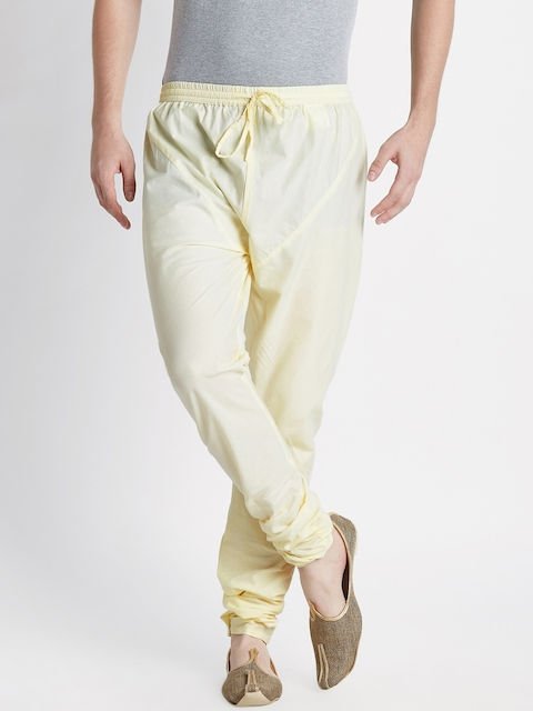 indus route by Pantaloons Men Cream-Coloured Solid Churidar
