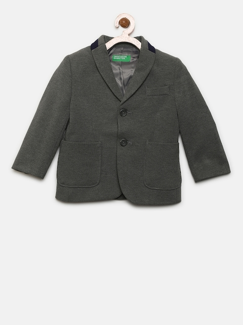 United Colors of Benetton Boys Grey Single-Breasted Blazer