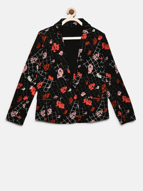 United Colors of Benetton Girls Black & Red Printed Single-Breasted Blazer