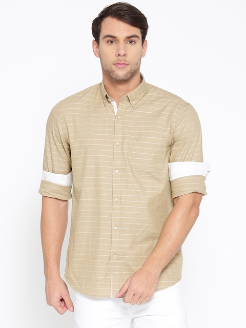 Blackberrys Men Beige Slim Fit Striped Casual Shirt