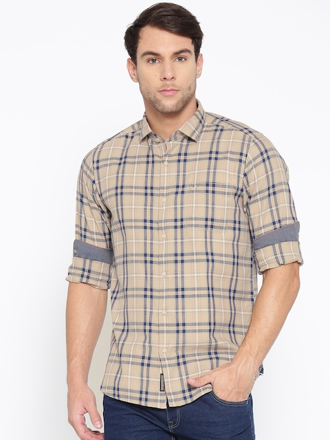 Blackberrys Men Beige & Navy Blue Slim Fit Checked Casual Shirt