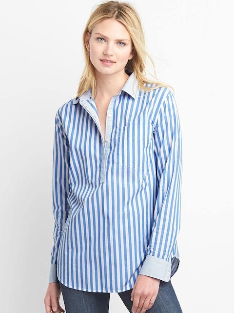 GAP Women Blue & White Poplin Stripe Shirt
