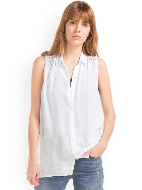 GAP Women Sleeveless Shirred Shirt