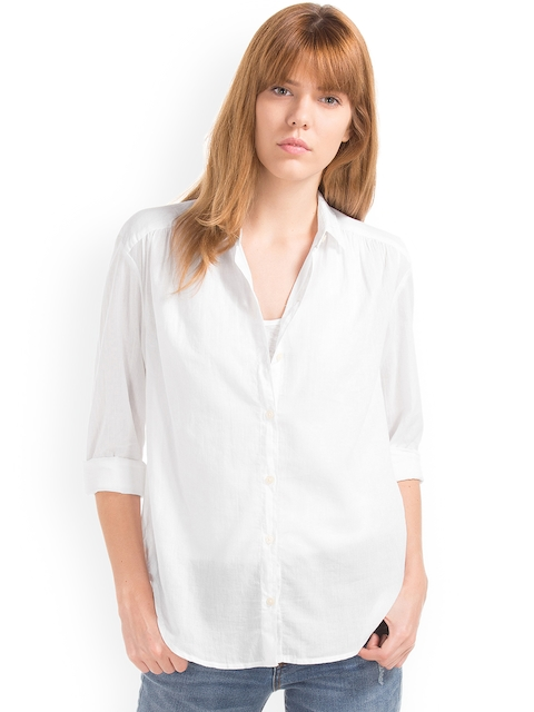 GAP Women White Shirred Shirt