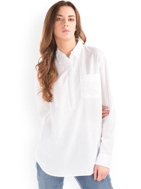 GAP Women Textured Stripe Boyfriend Shirt