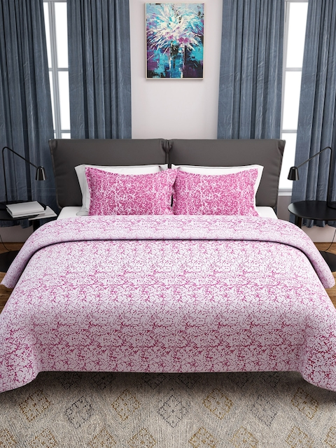 ROMEE Pink Woven Design Polycotton Double Bed Cover with 2 Pillow Covers
