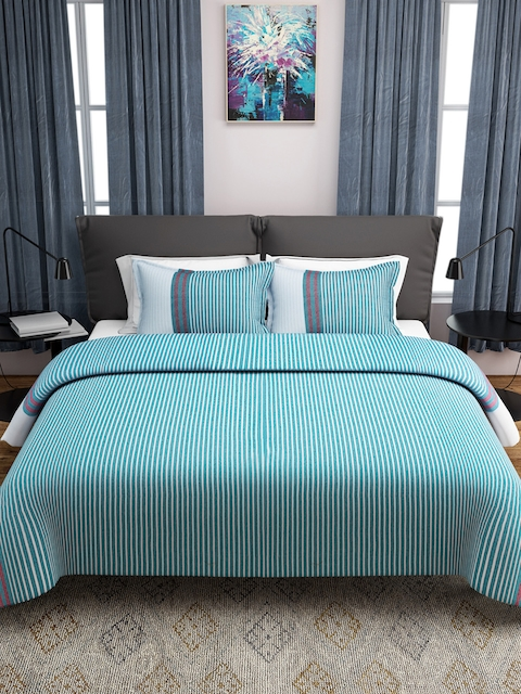 ROMEE Turquoise Blue & White Woven Design Cotton Double Bed Cover with 2 Pillow Covers
