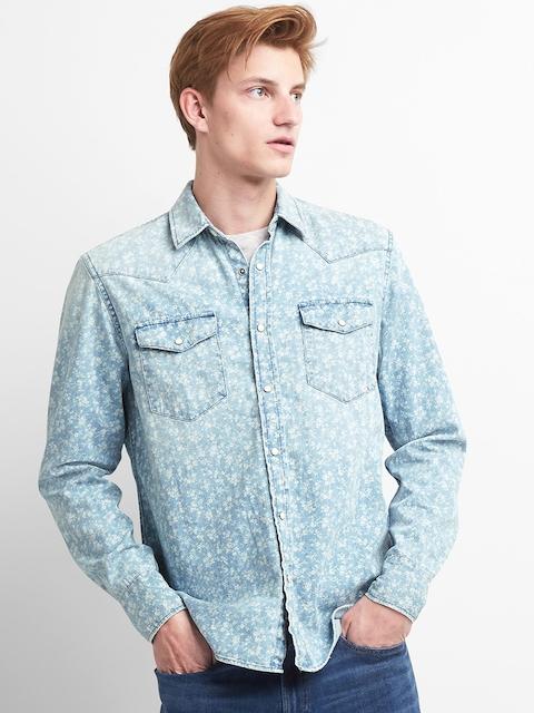 GAP Men Blue Slim Fit Floral Print Western Shirt In Denim