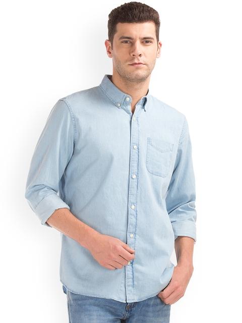 GAP Men Blue Indigo Twill Standard Fit Shirt