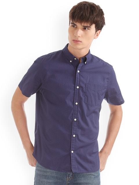 GAP Men Blue Print Poplin Short Sleeve Shirt in Stretch