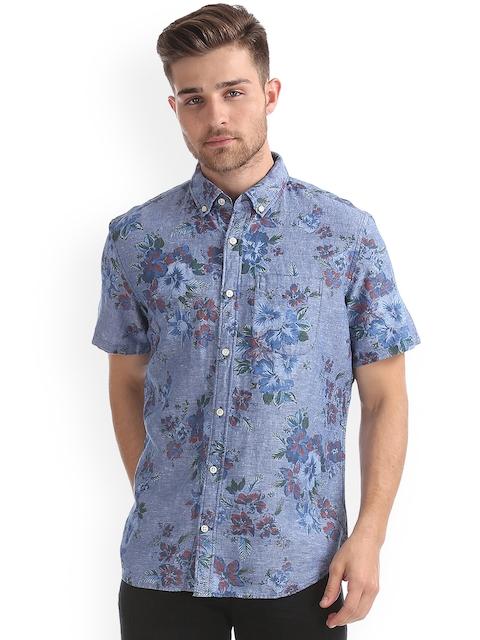 GAP Men Standard Fit Short Sleeve Shirt in Linen-Cotton