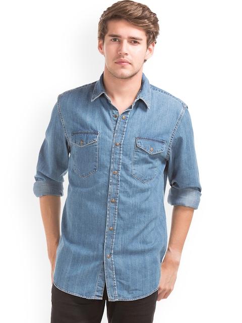 GAP Men Blue 1969 Denim Western Slim Fit Shirt