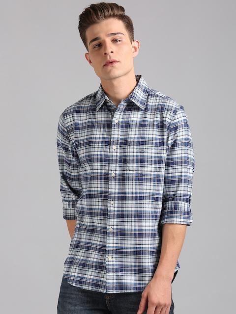 GAP Men Blue & White Slim Fit Checked Stretch Oxford Shirt