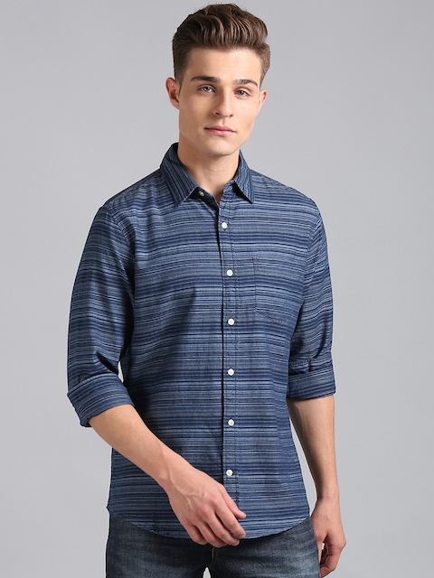 GAP Men Blue Slim Fit Striped Indigo Shirt