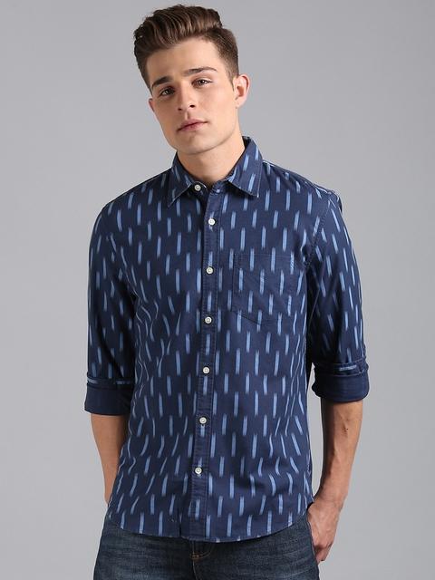 GAP Men Blue Slim Fit Printed Stretch Oxford Shirt