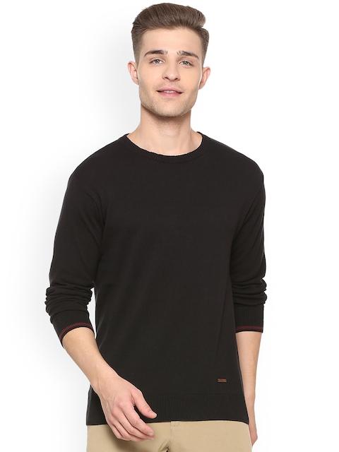 People Men Black Solid Pullover