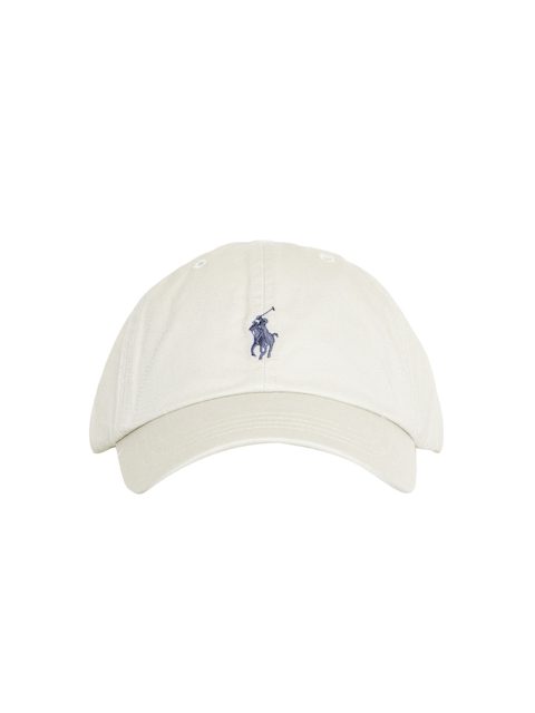 Polo Ralph Lauren Men Cream-Coloured Solid Cap with Embroidered Logo