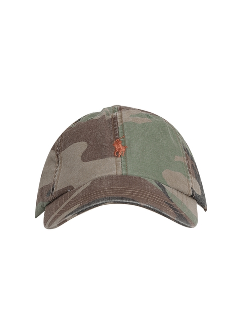 Polo Ralph Lauren Olive Green & Brown Camouflage Print Cap with Embroidered Logo