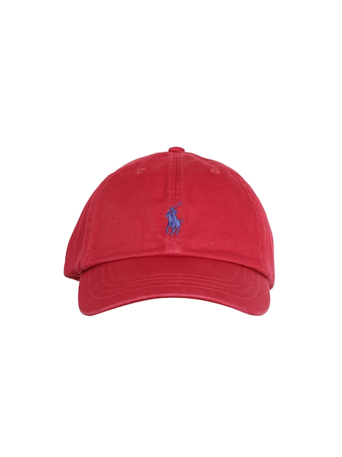 Polo Ralph Lauren Men Red Solid Cap with Embroidered Logo