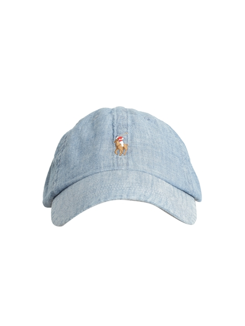 Polo Ralph Lauren Men Blue Denim Cap with Embroidered Logo