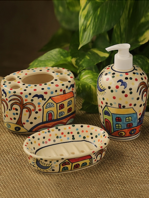 ExclusiveLane Set Of 3 Multicoloured Handpainted Ceramic Bathroom Accessories