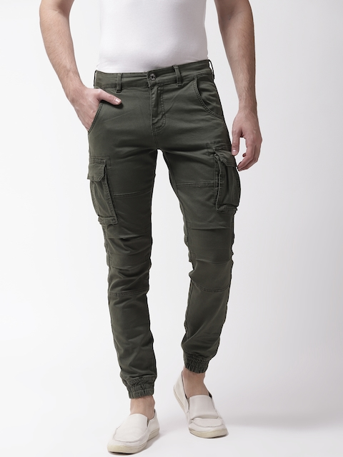 GAS Men Olive Green Bob Gym Skinny Fit Solid Cargo Joggers