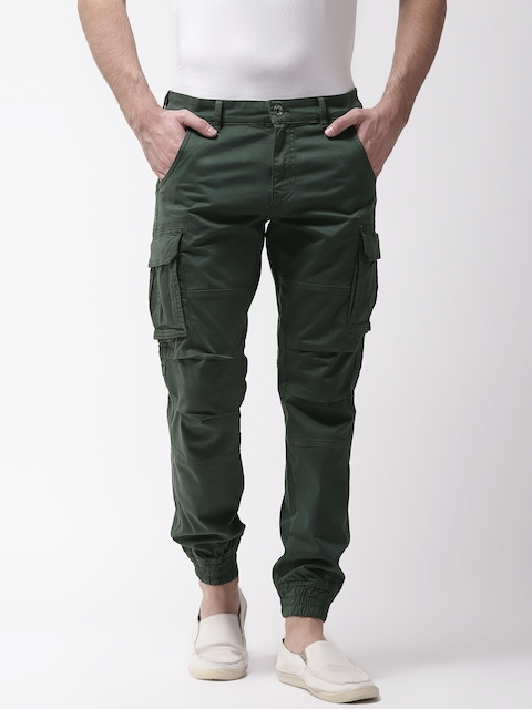 GAS Men Green Bob Gym Skinny Fit Solid Cargo Joggers