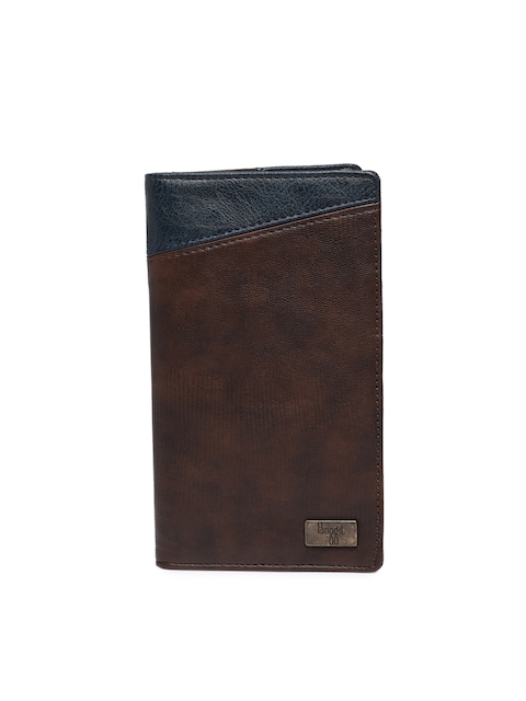 Baggit Men Brown & Navy Blue Leather Textured Passport Holder