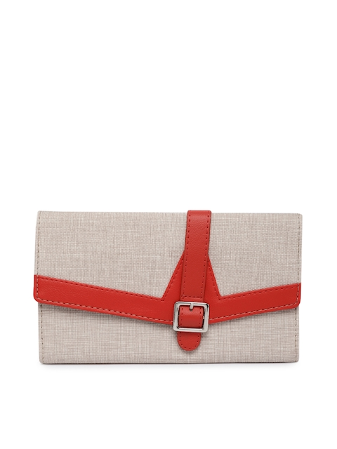 Baggit Women Beige Solid Three Fold Wallet
