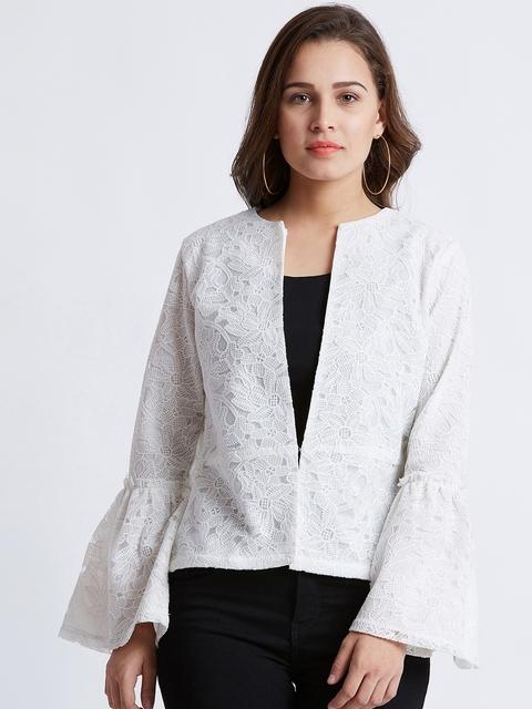MAGRE Women White Self Design Tailored Jacket