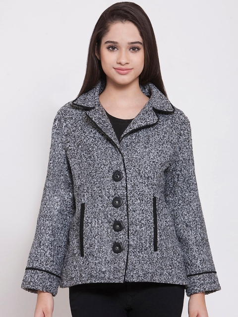 Martini Women Grey Self Design Tailored Jacket