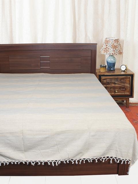EverHOME Cream & Blue Woven Design Cotton Bed Cover