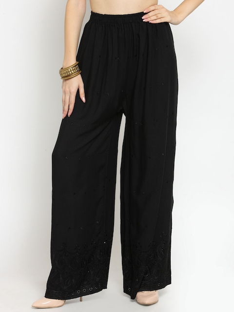 Castle Women Black Embroidered Wide Leg Palazzos