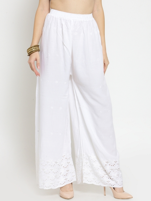 Castle Women White Wide Leg Hem Design Palazzos