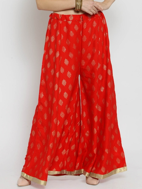 Castle Women Red Embellished Wide Leg Palazzos