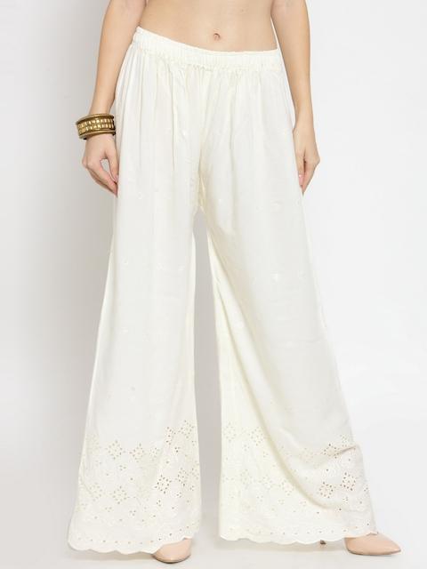 Castle Women Off-White Hem Design Wide Leg Palazzos