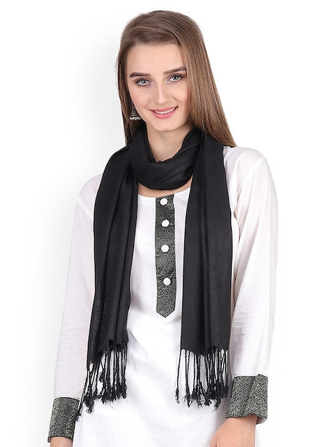 Anekaant Women Black Solid Stole