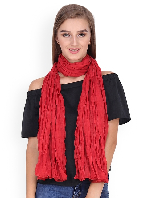 Anekaant Women Red Solid Stole