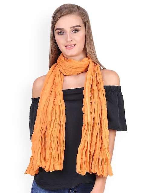 Anekaant Women Orange Solid Stole