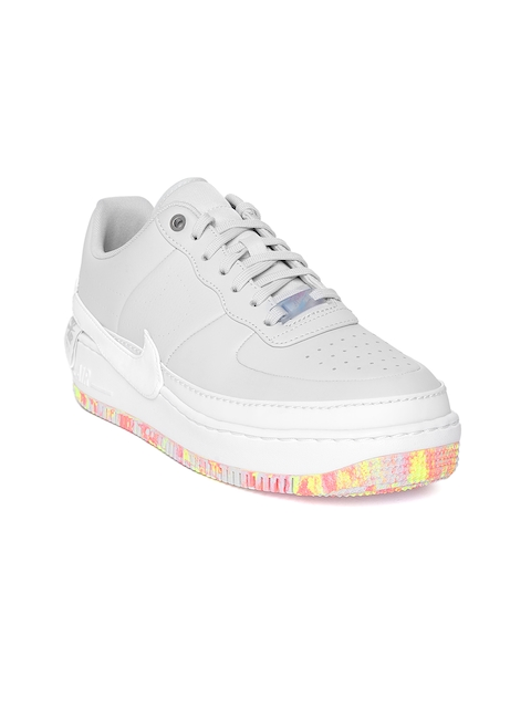 Nike Women Grey Air Force 1 Jester XX Print Leather Basketball Shoes