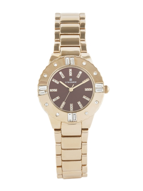 Dsigner Women Brown Gold-Plated Embellished Analogue Watch 723GM.9